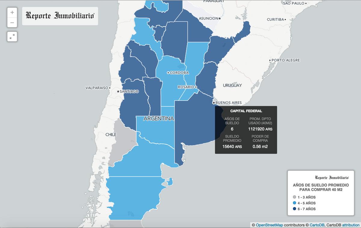 Poder de compra de vivienda del salario en la Argentina - Provincia por provincia